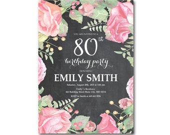 80th birthday invitations etsy 80th birthday invitation women birthday party any ages floral watercolor black and white chalkboard personalized printable digial filmwisefo