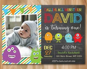 Monster Birthday Invitation Little Party Invite Boy Kids Chalkboard Custom Photo Printable Digial