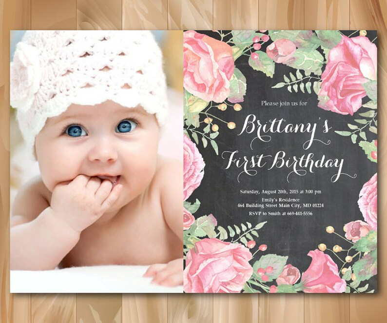 1st Birthday Invitation With Photo Baby Girl First Floral Watercolor Black And White Chalkboard Personalized Printable Digial