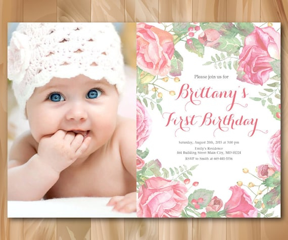 1st Birthday Invitation With Photo Baby Girl First
