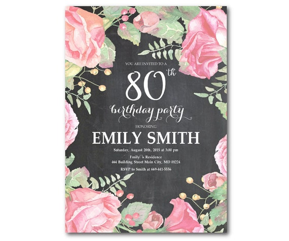 80th Birthday Invitation Women Party Any Ages
