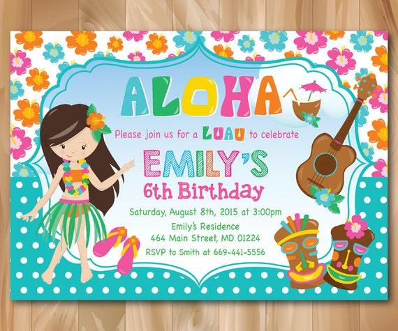 luau birthday invitation hawaiian birthday invitation luau etsy