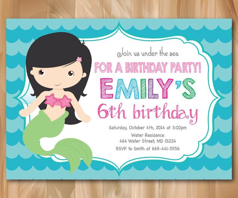 Invitation Anniversaire De Sirène Little Mermaid Invitation Sous La Mer Anniversaire Pool Party Invitation Fichier Imprimable Digial Custom