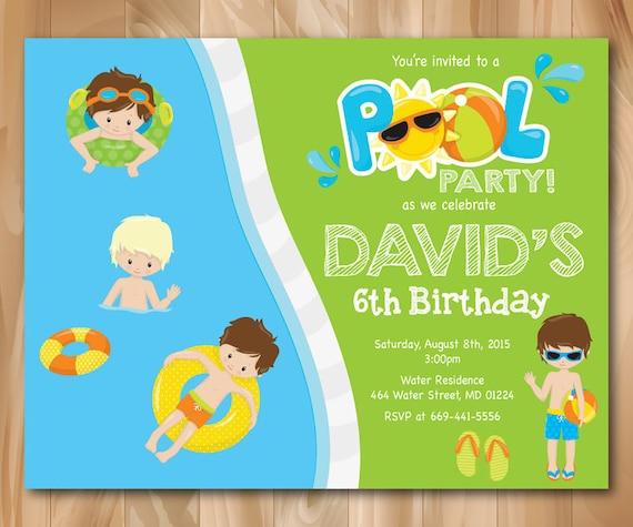 pool party invitation boy pool birthday party invite splish etsy