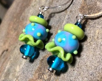 Colorful sky blue and lavender with lime green dotted lampwork earrings with lime ruffle bead hanging on handmade sterling round wires.