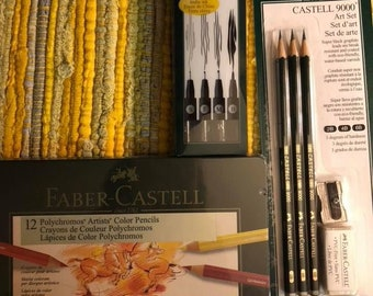 Brand new: Faber Castell Polychromos colored pencils set of 12, permanent India ink Artist pens for linemaking, and F.C 9000 pencil set.