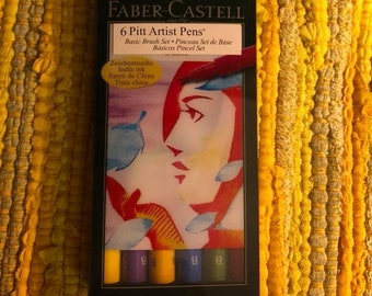 Faber Castell Markers: Set of Basics colors  brush tip amazing permanent India Ink in 6 Pitt Artist pens, brand new.