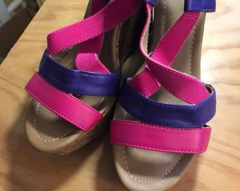 Vintage Pink and Purple high heel sandals, Size 8, pre-worn, in great condition.