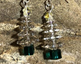 Crystal Swarovski Crystal Christmas Tree earrings with Green accent and star on top on handmade sterling silver round ear wires.