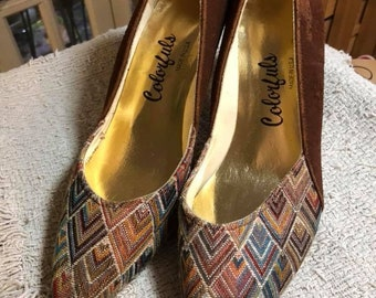 "Vintage ""Colorfuls"" plaid and brown suede size 9 1/2 spike heels preworn."