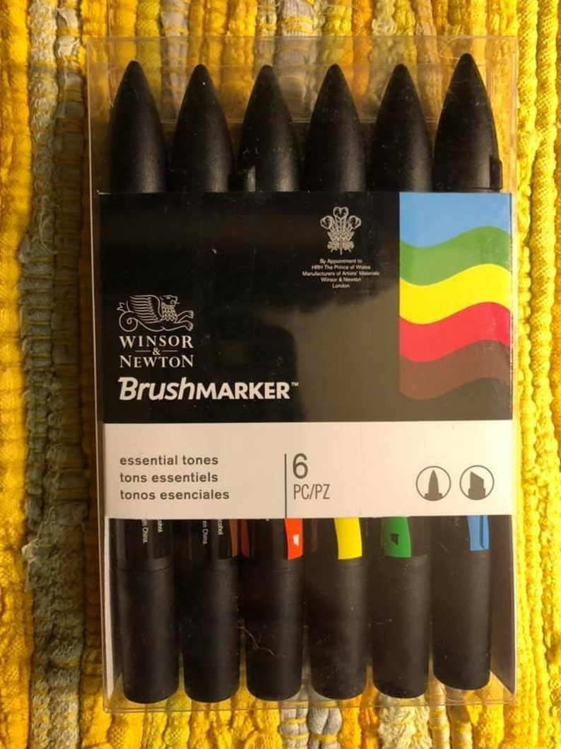 Alcohol markers with brush tip Winsor and Newton Brushmarkers Essential tones set of 6. new and unopened