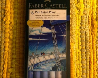 Faber Castell Markers: Set of Blues brush tip amazing permanent India Ink in 6 Pitt Artist pens, brand new.