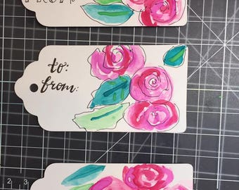 Custom made  hand painted or hand stamped and embossed tags for gifts, made with watercolors, markers, inks or rubber stamps of all kinds.