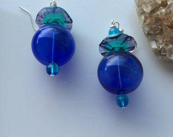 Lampwork Large cobalt blue hollow glass beads with exquisite bicolor ruffle bead,  beaded dangly earrings on sterling silver earwires.
