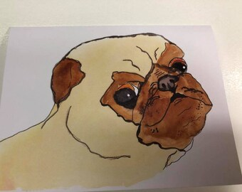 Handmade watercolor Pug card, blank inside, with envelope, A2 size.