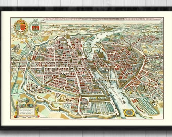 Old map of paris, 1615- Plan of the City, City University and suburbs of Paris with the description of its antiquity