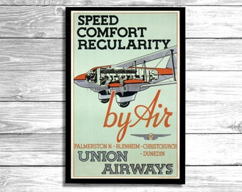 VINTAGE POSTER - New Zealand Union Airways Poster Print Wall Art.1930 Aviation Poster