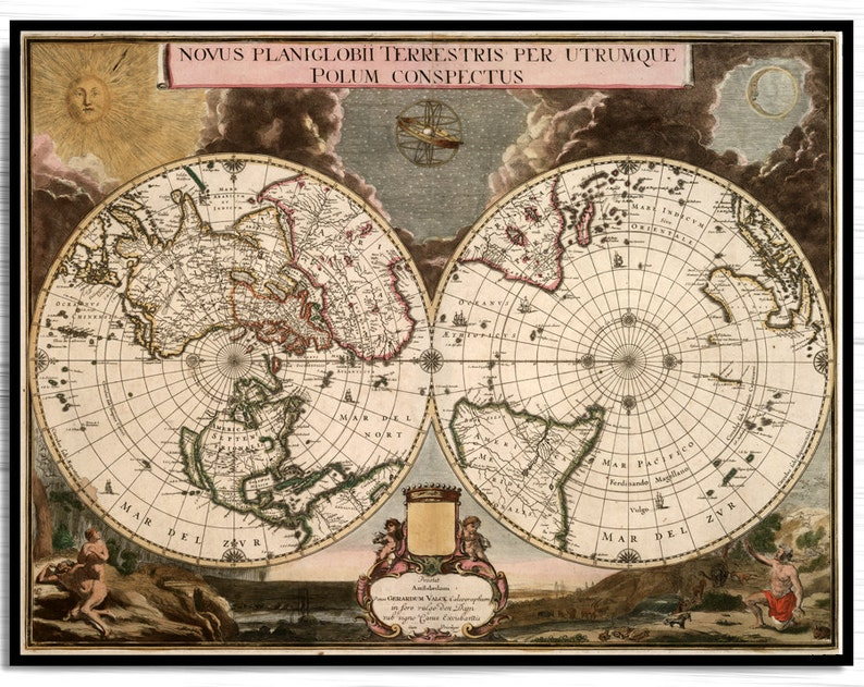 World Map Hemisphere Antique 1700 Vintage World Map | Etsy