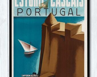 Vintage Travel Poster - Estoril - Cascais - Portugal /13x18 Inches