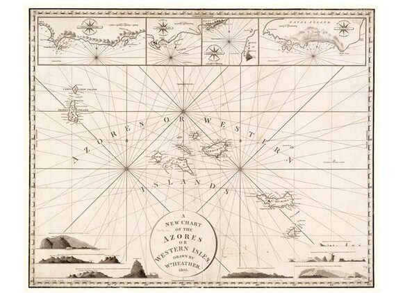 Old map of Azores Archipelago 1803