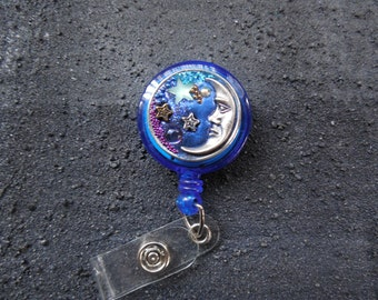 Starry Night Retractable Badge Holder-Badge Reel-Nurse I D Badge Holder-Teacher ID Badge Reel-Magnetic ID Holder