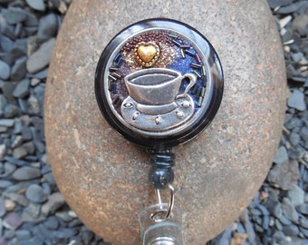 Hot Cup-Badge Holder-Badge Reel, I D Badge Holder Badge Jewelry, Nurse ID Gift, Teacher ID Gift, Badge Reel, Magnetic ID