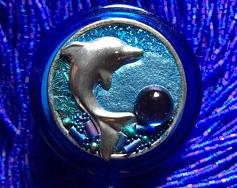 Dancing Dolphin Retractable Badge Holder-Badge Reel-I D Badge Holder-Badge Jewelry, Nurse ID Gift, Teacher ID Gift, Badge Reel, Magnetic ID