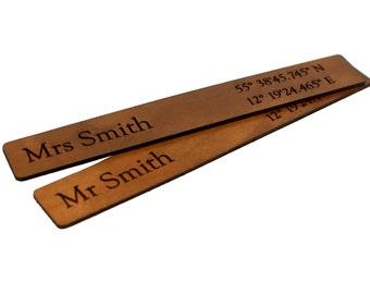 Third Anniversary Bookmark, Honeymoon Bookmark, Leather Anniversary Gift, 3rd Anniversary Bookmark, Third Anniversary Gift, Mr Mrs Bookmark