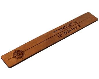 Leather Bookmark, Longitude Latitude Bookmark, GPS Bookmark, Coordinates Bookmark, Personalized Bookmark, Engraved Bookmark, Custom Bookmark