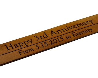 3rd Anniversary Leather Gift, Third Anniversary Personalized Gift Bookmark, 3 Years Wedding Anniversary Custom Engraved Gift for Him or Her