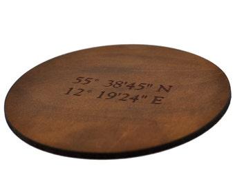 Coordinates Home Decor Leather Coasters, Personalized GPS Longitude Latitude Coaster, Leather Whiskey Lover Gift, Travel Home Decor
