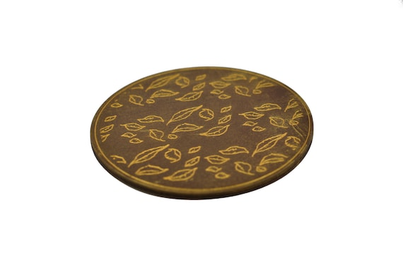 Gold Leaf Leather Coasters These Elegant Drink Coasters Are Etsy