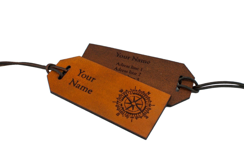 Address Leather Luggage Tag Compass Luggage Tag Custom Etsy
