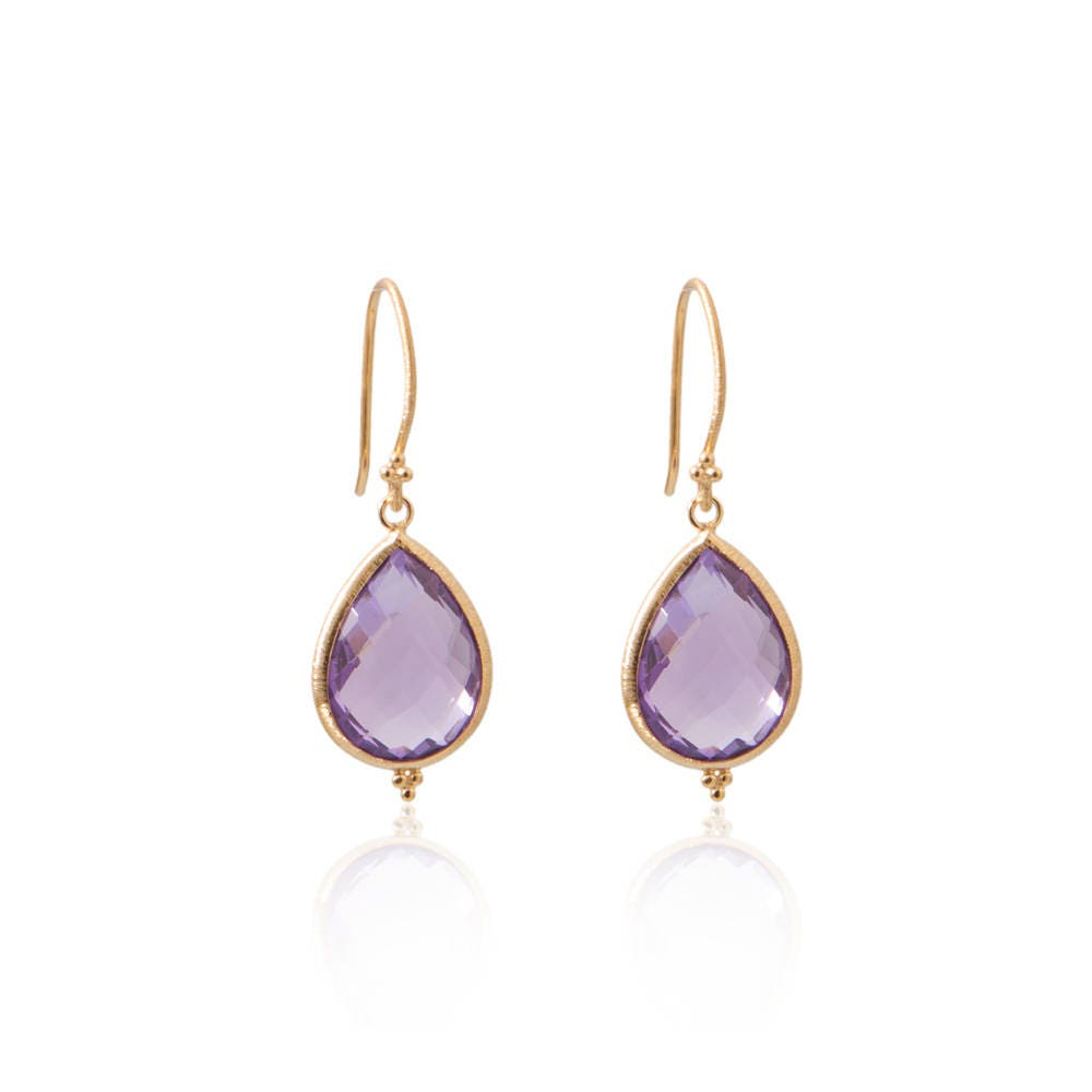fee95eee0d8c2 Amma Gold Vermeil Earrings - Amethyst Earrings - Bridesmaid Earrings Gold -  Gold Vermeil - Bali Jewelry - Elegant Jewelry - Sustainable