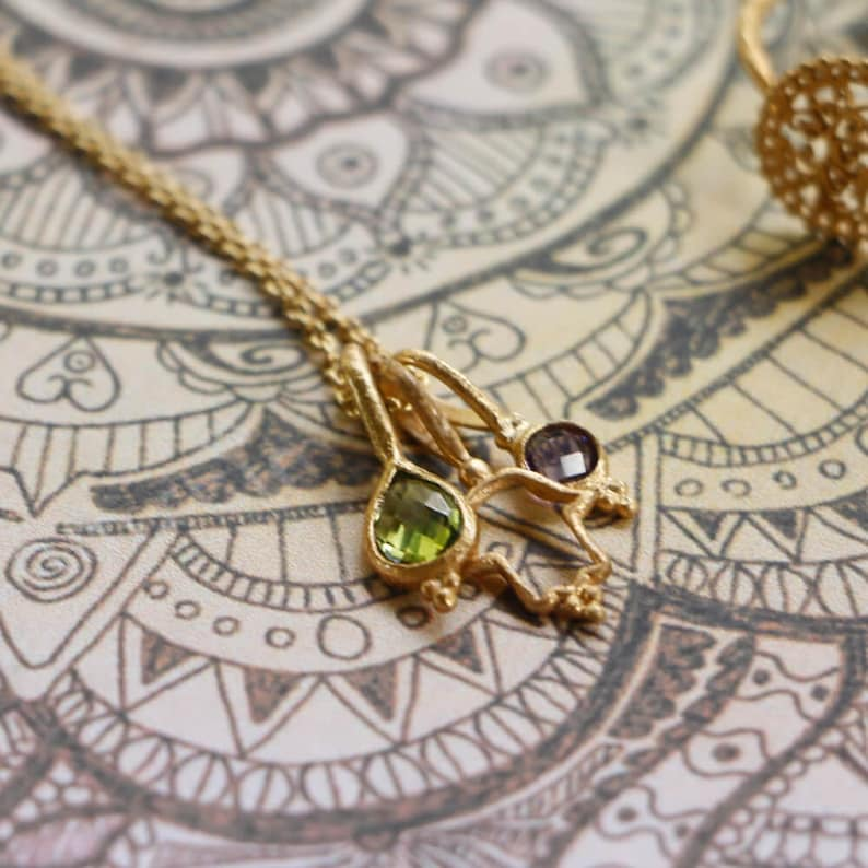 Mudra of Protection Gold Vermeil Necklace Elegant Necklace Peridot Necklace Bali Jewerly Sustainable Jewelry Amethyst Necklace