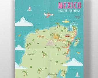 Yucatan map | Etsy