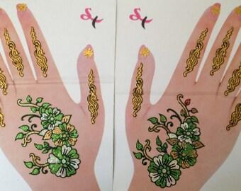 Temporary Hand Arm Henna Tattoos Multicolor India Bindi Green Gold