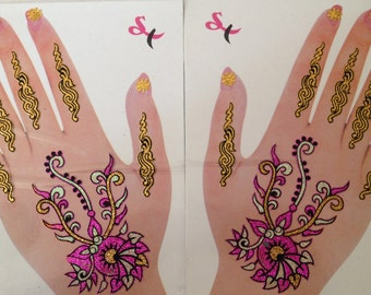 One Pair Temporary Hand Arm Henna Tattoos Multicolor Magenta Gold Peel Off Nail Face Art