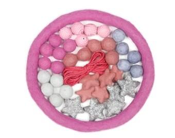 Pink Felt Ball Crochet Bead Glitter Star Mobile DIY KIT