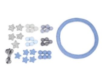 Blue Felt Ball Crochet Bead Glitter Star Mobile DIY KIT