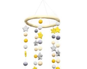 Yellow Felt Ball Crochet Bead Glitter Star Mobile DIY KIT