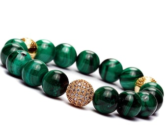 10mm Green Malachite Bracelet, Gold Pave Beads Bracelet, Green Malachite Jewelry Bracelet, Women Bead Bracelet, Pave Stretch Bracelet