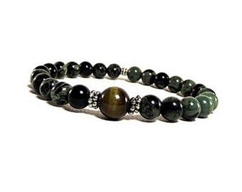 10mm Kambaba Jasper Bracelet, Men's Meditation Bracelet, Women's Yoga Mala Bracelet, Tiger Eye Bracelet Stretch, Green Jasper Beads Bracelet