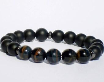 Matte Onyx / Blue Tiger Eye Bracelet, Black / Blue Mens Beaded Bracelet, Men's Onyx / Blue Tiger Eye Mala Bracelet, Tiger Eye Men's Jewelry