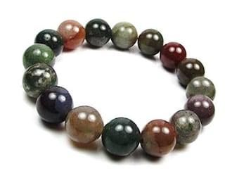 Indian Agate Beads Bracelet, Indian Agate Mala Bracelet, Mala Beads Bracelet,  Indian Agate Yoga Bead Bracelet, Agate Mens Beaded Bracelet