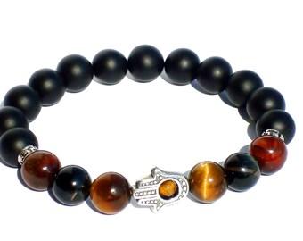 3 Color Tiger Eye Bracelet and Matte Black Onyx, Mens Beaded Bracelet, Bracelet Men, Stretch Bracelet Men, Hamsa Bracelet Men, Men's Jewelry