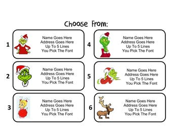 30 Custom Personalized How The Grinch Stole Christmas Return Address Mailing Labels