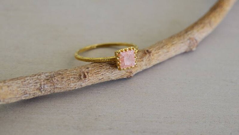 Gold Stone Ring For Her Pink Quartz Ring Bridemaid Rings SALE Unique Gifts Square Ring Crown Ring Gold Handmade Jewelry Pink Ring