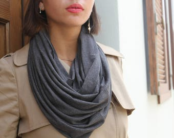 SALE, Scarf Women, Loop Scarf, Infinity Scarf, Grey Scarf, Bohemian Scarf, Scarf Women, Cowl Scarf, Winter Scarf, Unique Scarves, Wife Gift