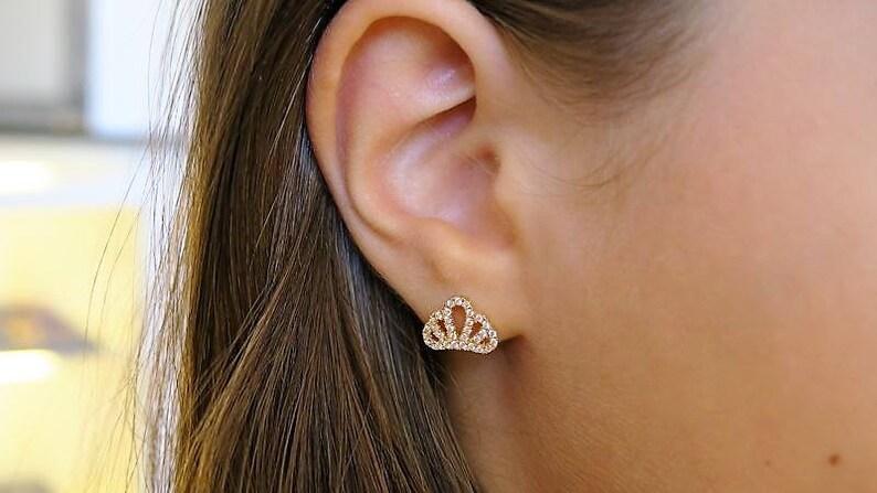 SALE Unique Gifts Girls Earrings Zircon Stud Earrings Gold Earrings Crown Stud Earrings Gold Stud Earrings Gifts Gold Crown Earring